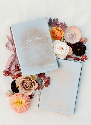 Velvet Vow Books with Silk Ribbon