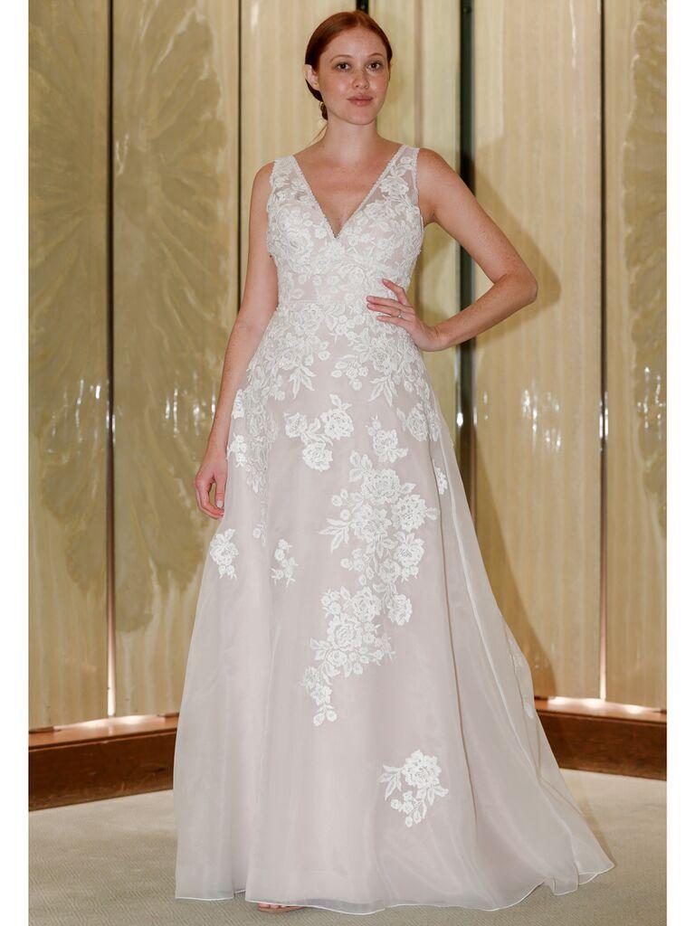 Randy Fenoli Fall 2019 Bridal Collection A-line wedding dress with sleeveless V-neckline