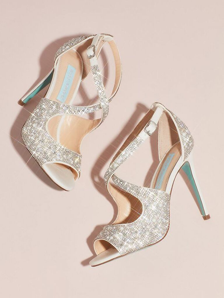 Sparkly wedding heels with blue accents