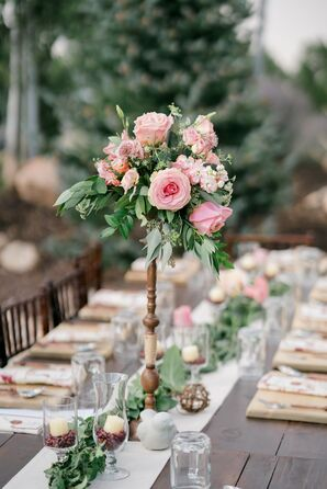 Tall Pink Rose and Stock Centerpiece on Wood Pedestal