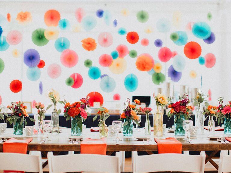 Rainbow wedding reception décor