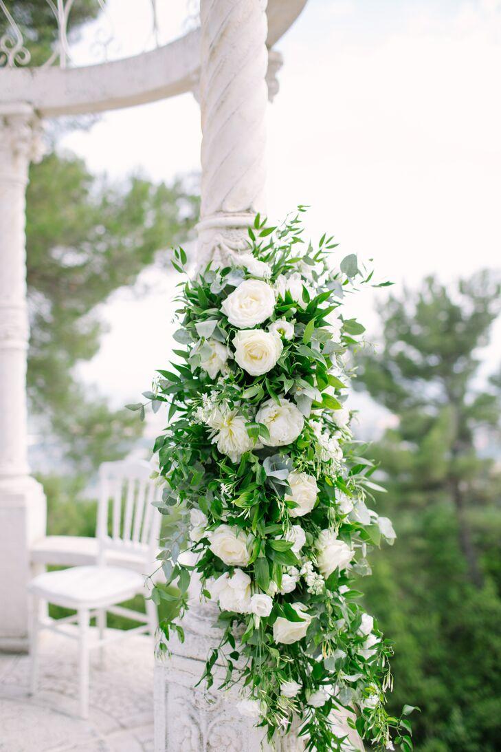 White Garden Rose and Greenery Gazebo Arrangement