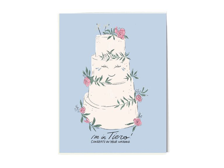 'I'm in tiers' in black script with cake graphic crying on blue background