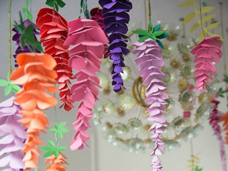 Colorful hanging paper wisteria