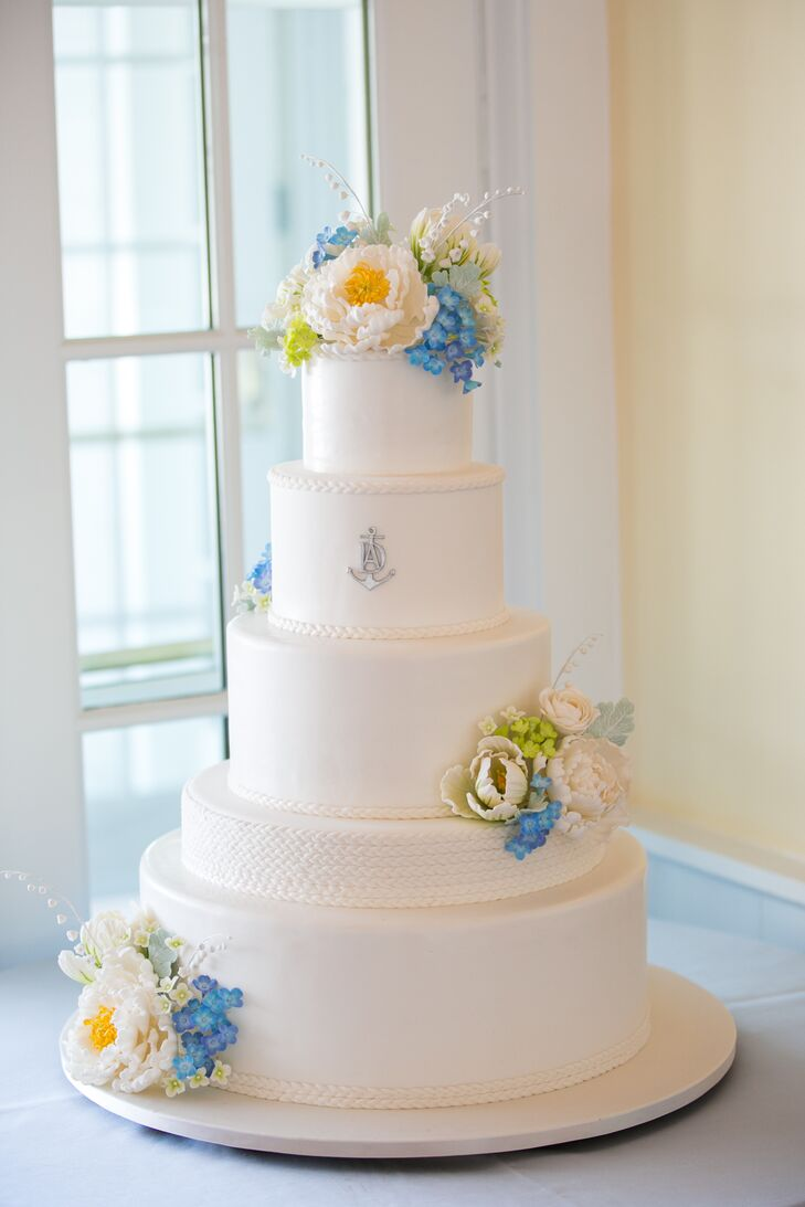 Classic Sugar Flower Cake With Nautical Motif