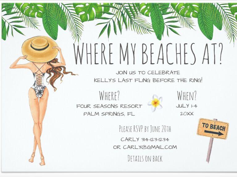 bachelorette beach party invite