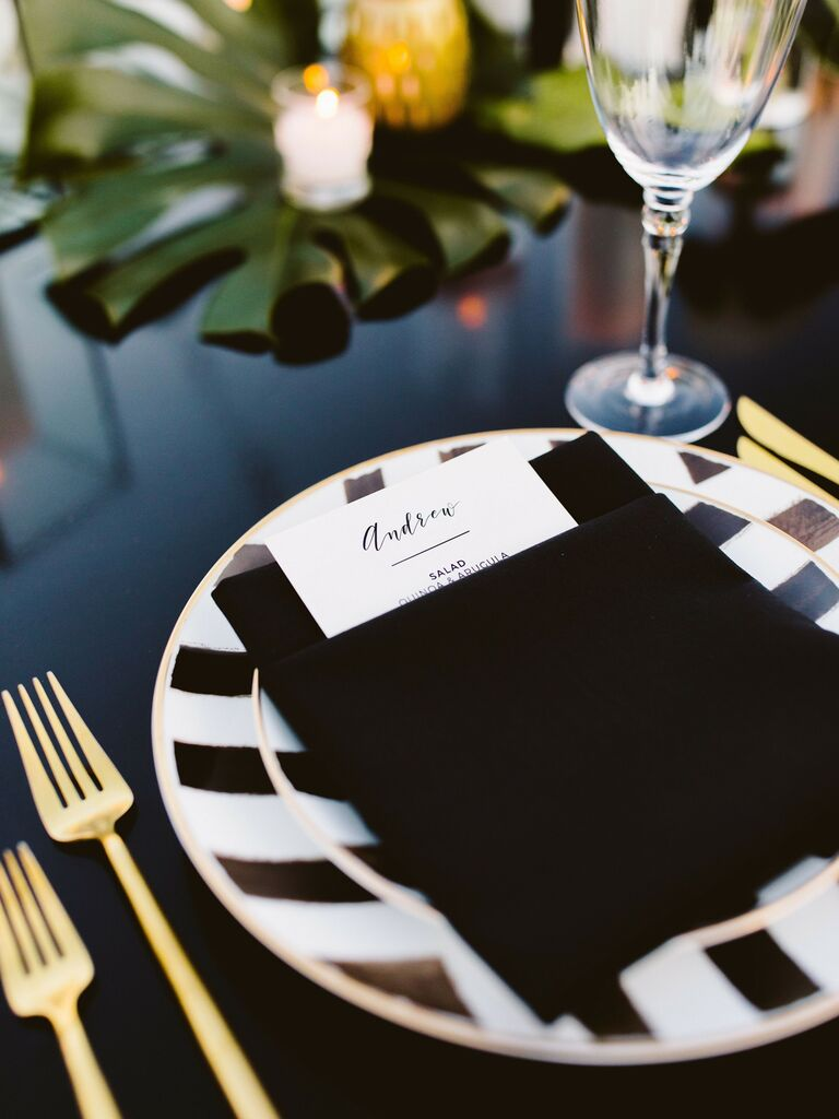 wedding place cards black and white