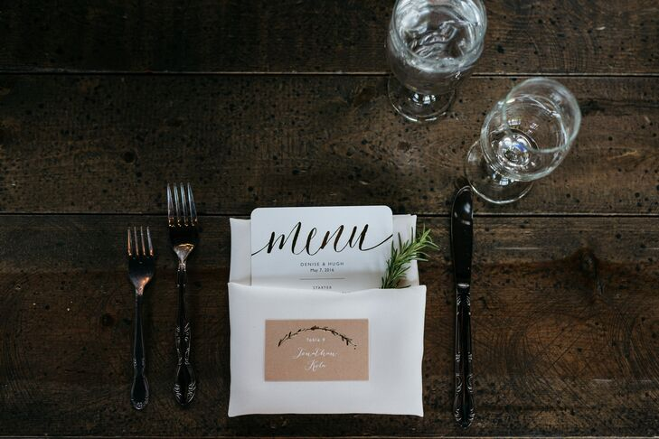 Hand-Lettered Menu and Escort Cards