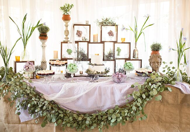 eucalyptus garland dessert table |<img class=