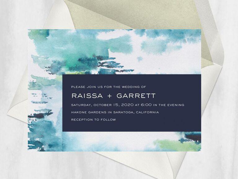 Elegant watercolor online wedding invitation
