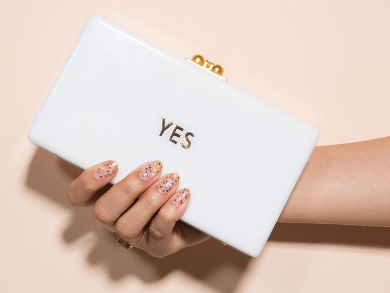 confetti bridal wedding nails manicure