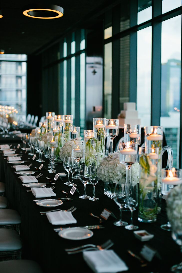 Black and White Dining Table with Tall Candles