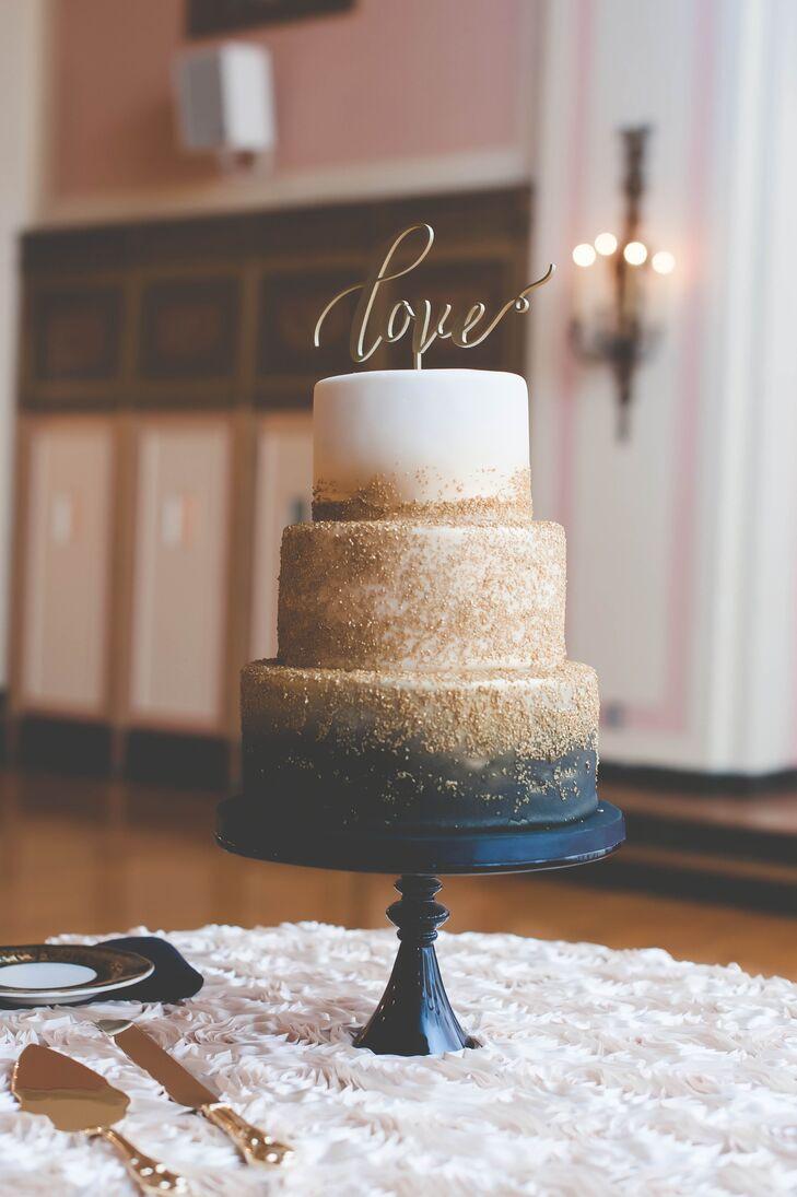 Beloved Ann Arbor bakery Zingerman's created up their three-tier wedding cake.