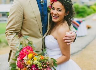Using a colorful Mexican blanket for inspiration, Viviana Belmares (24 and a textile designer) and Dustin McKay (25 and a fire systems inspector) blen