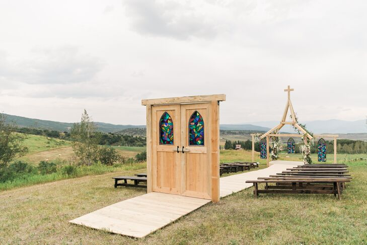 Wood and Stained-Glass Chapel Doors