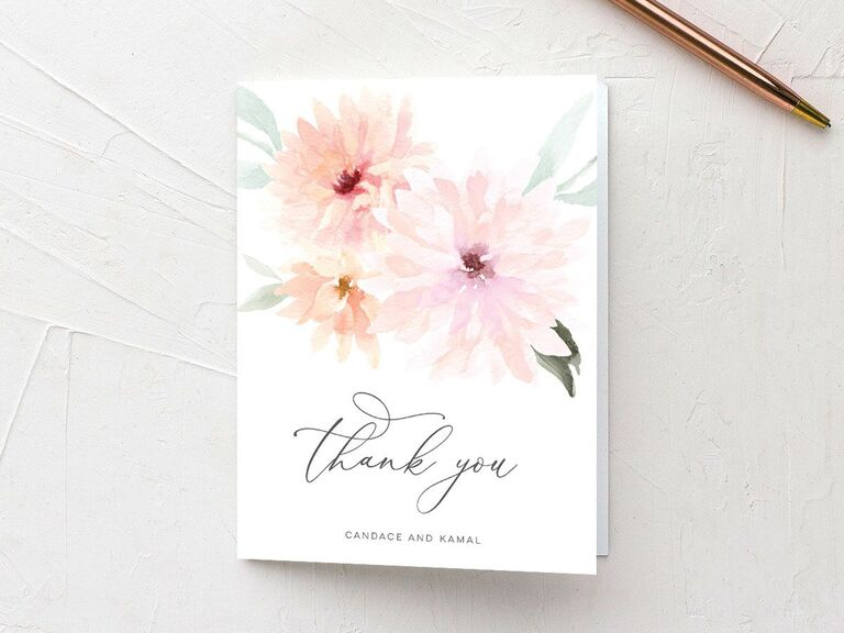 Pastel-hued blooms thank-you wedding shower card