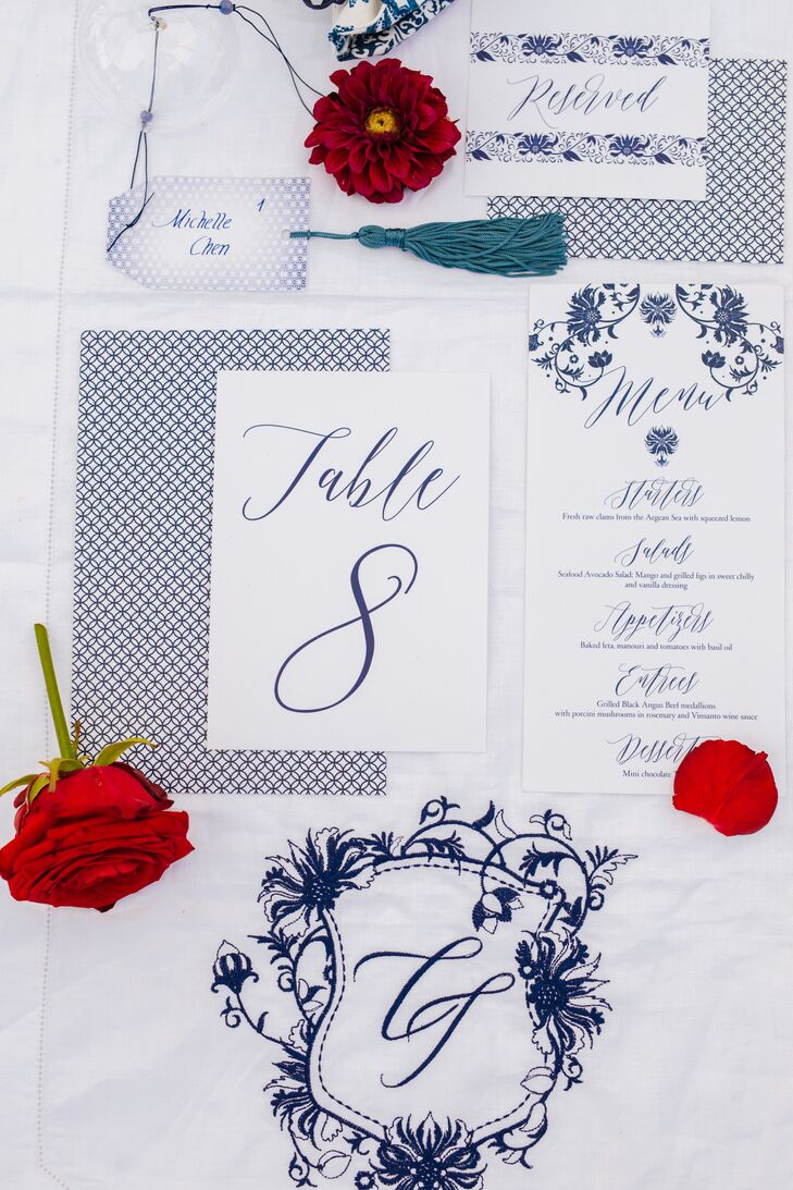 Navy and White Paper Goods