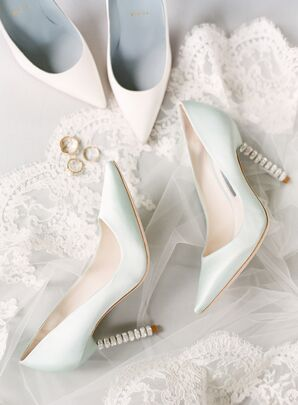 Pale Mint Stilettos with Gem-Studded Heels
