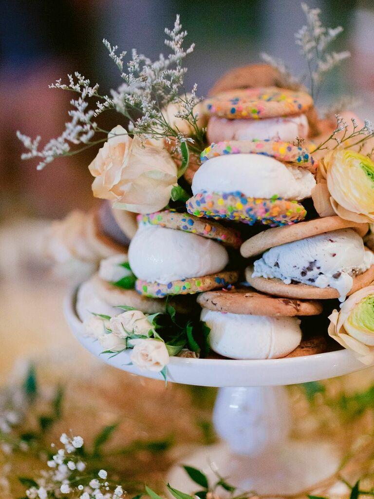 Ice cream sandwiches atop cake stand