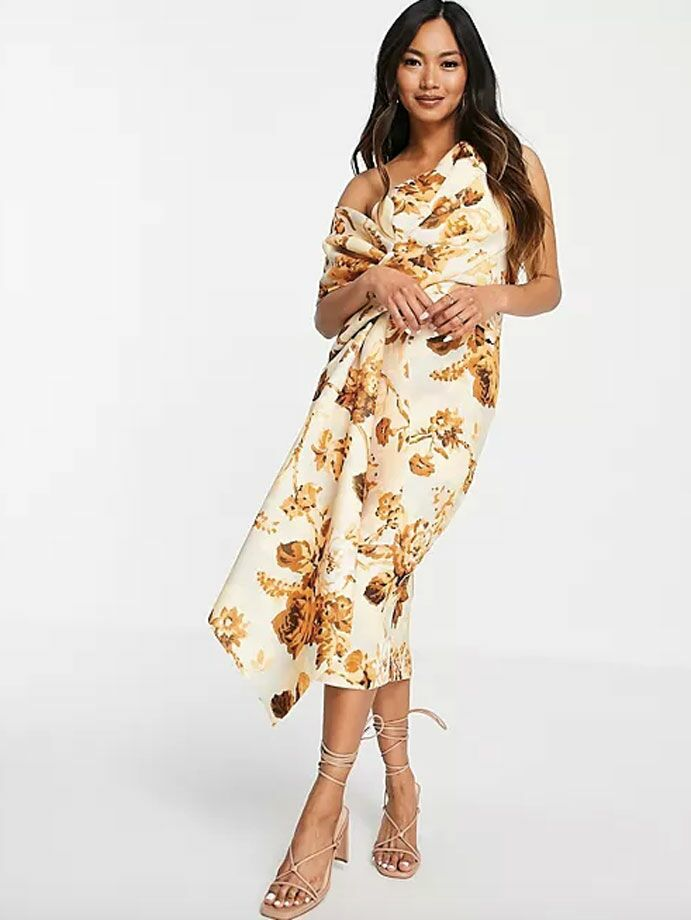 Fall wedding guest dress with one shoulder and golden leaf print