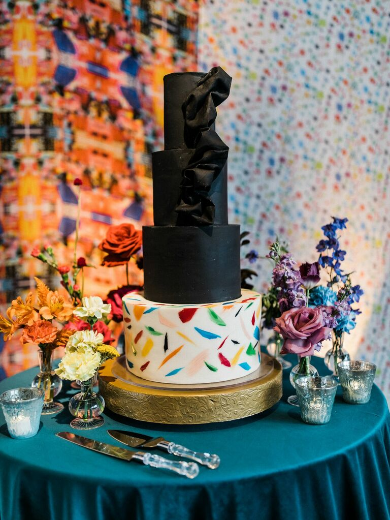 Eclectic black wedding cake