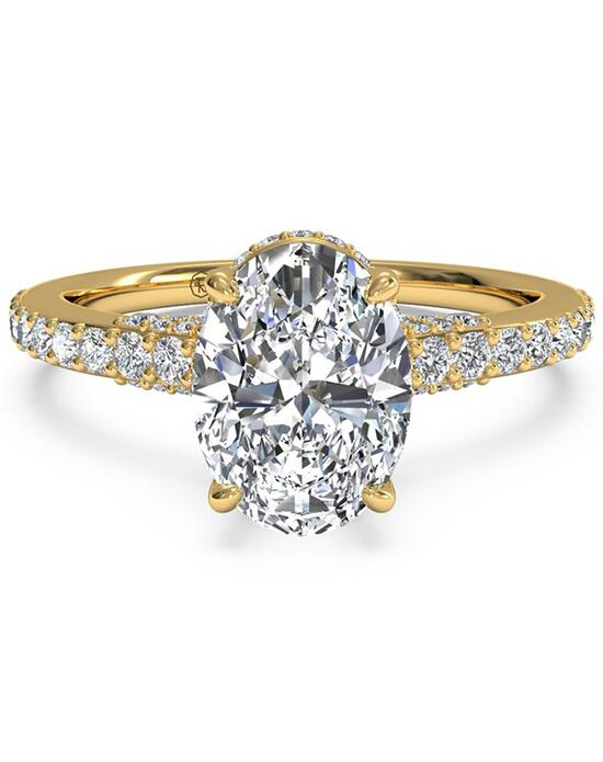 Ritani French-Set Diamond Band Engagement Ring - in 18kt Yellow Gold (0.45 CTW) for a Oval Center Stone Engagement Ring photo