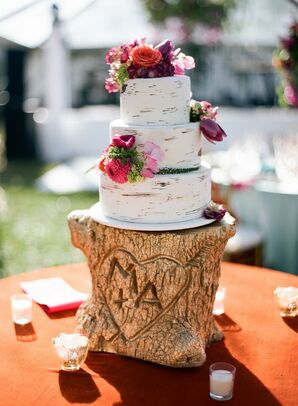 Three-Tier Cake on Gold Tree Stump Cake Stand