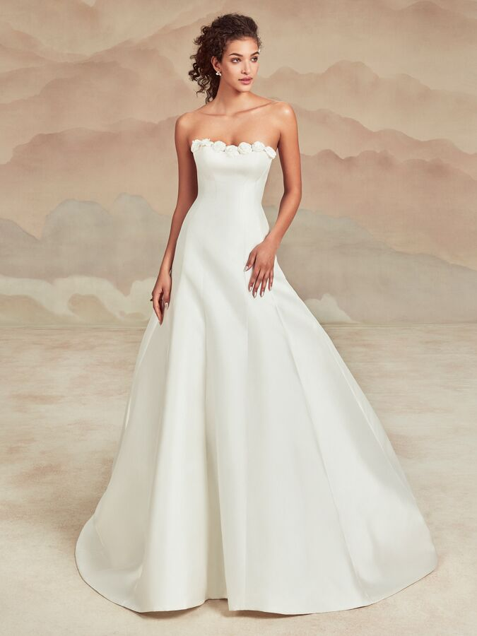 Ines Di Santo strapless A-line wedding dress with rosette accents