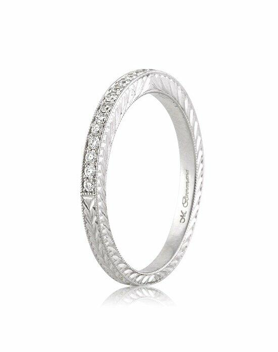 Mark Broumand 0.50ct Round Brilliant Cut Diamond Pave Wedding Band with Hand Engraving Wedding Ring photo
