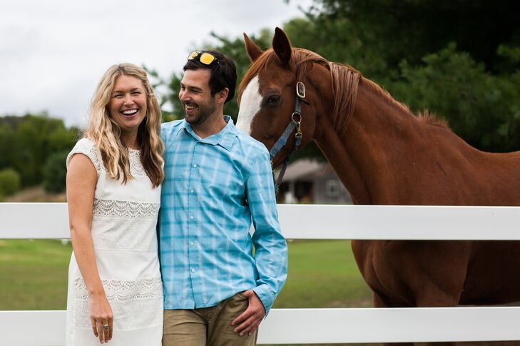 Casual Bride and Groom with Horse at Garvey Family Wedding Barn