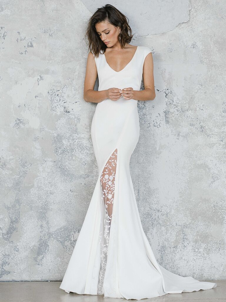 Rime Arodaky fit-and-flare dress with slit and lace overlay