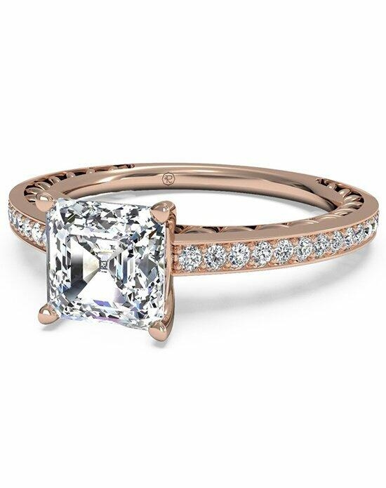 Ritani Asscher Cut Lattice Micropave Diamond Band Engagement Ring in 18kt Rose Gold (0.11 CTW) Engagement Ring photo