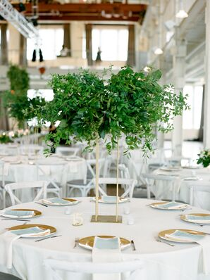 Tall Gold Centerpiece with Ivy and Smilax