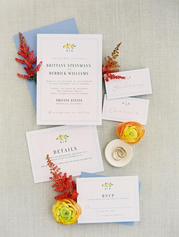Simple Invitation Suite for Wedding in Coachella, California