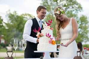 Pink Orchid-Decorated DIY Buttercream Wedding Cake