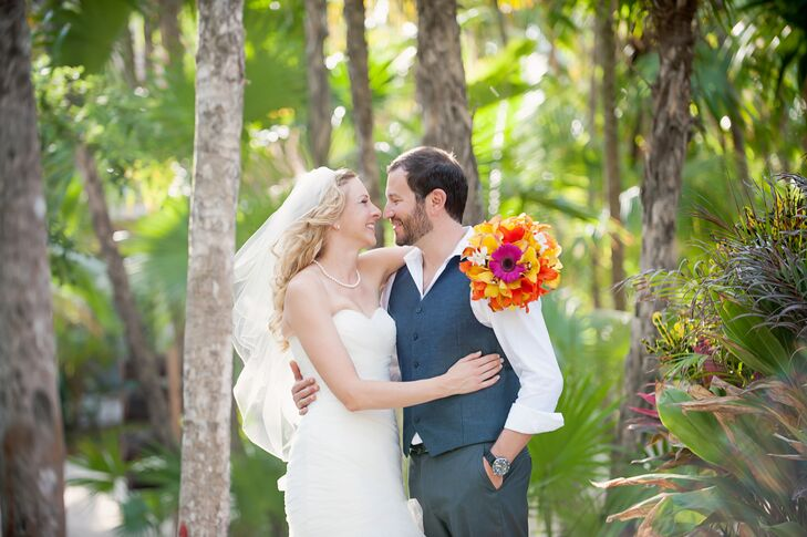 We can't get over the stunning tropical wedding arch at the destination wedding of Talina Konotchick (33 and a scientist) and Imad Ajjawi (35 and a sc
