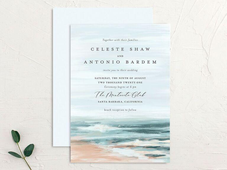 Affordable beach illustration wedding invitation
