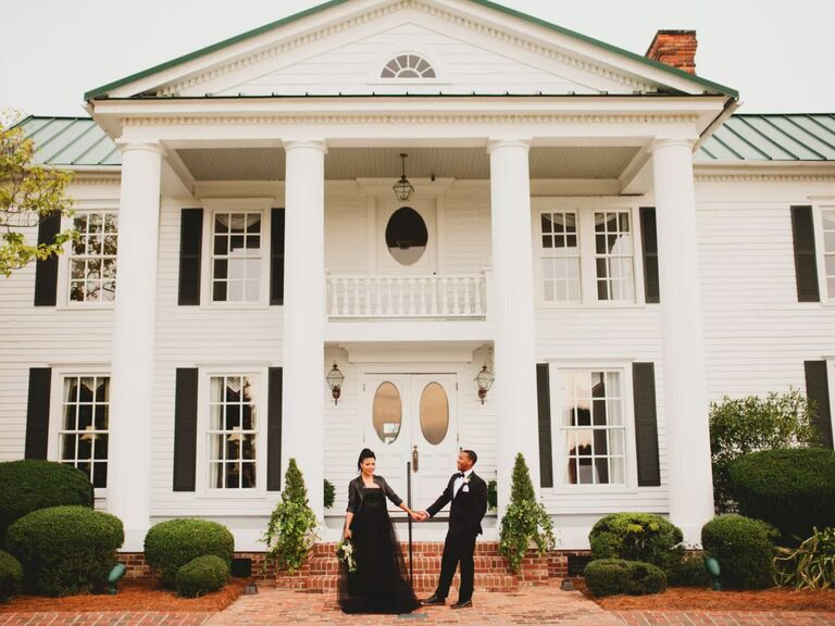 winter wedding ideas black wedding dress