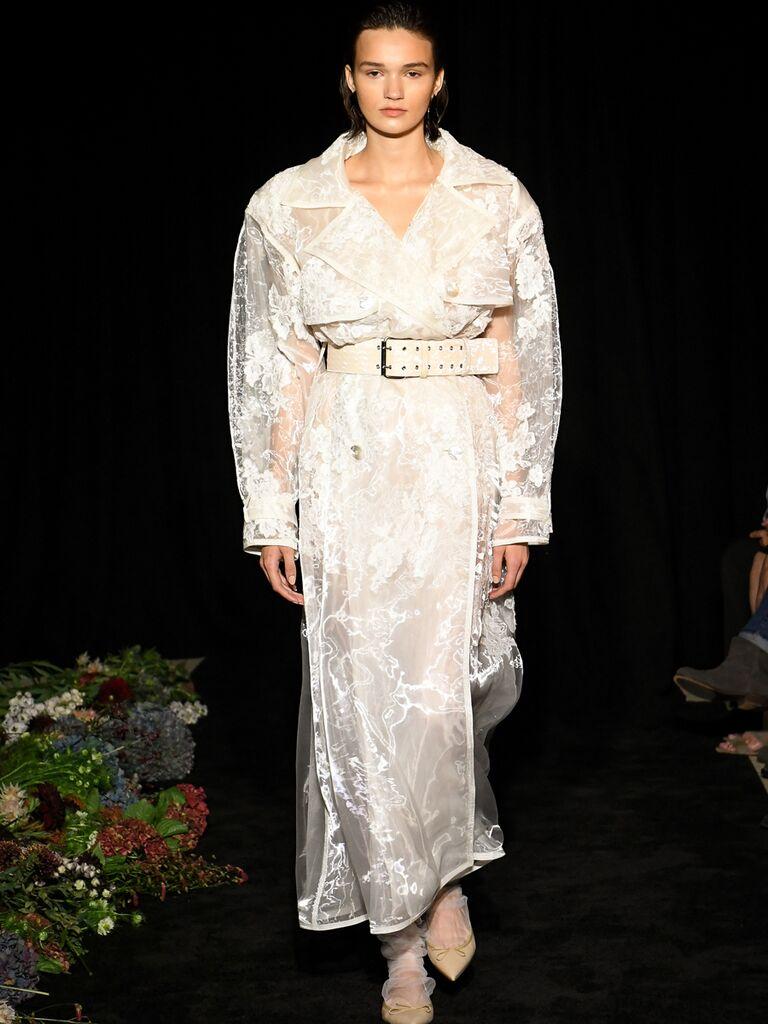 Long Sleeve Belted A-Line Wedding Dress