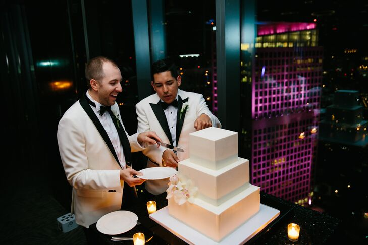 Square Tiered Wedding Cake with White Fondant