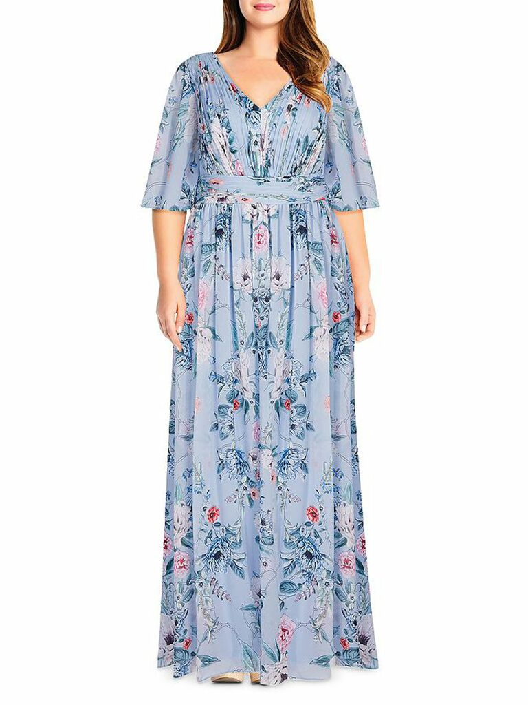 floral print maxi dress with flutter sleeves