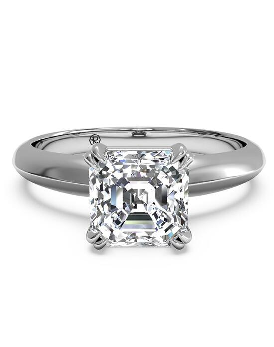 Ritani Solitaire Diamond Knife-Edge Tulip Engagement Ring - in 14kt White Gold for a Asscher Center Stone Engagement Ring photo