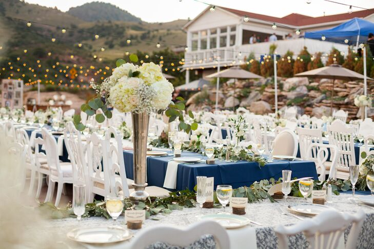 Tall White Hydrangea and Baby's Breath Centerpieces