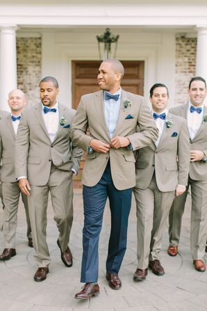 Casual Neutral Suits with Blue Accessories