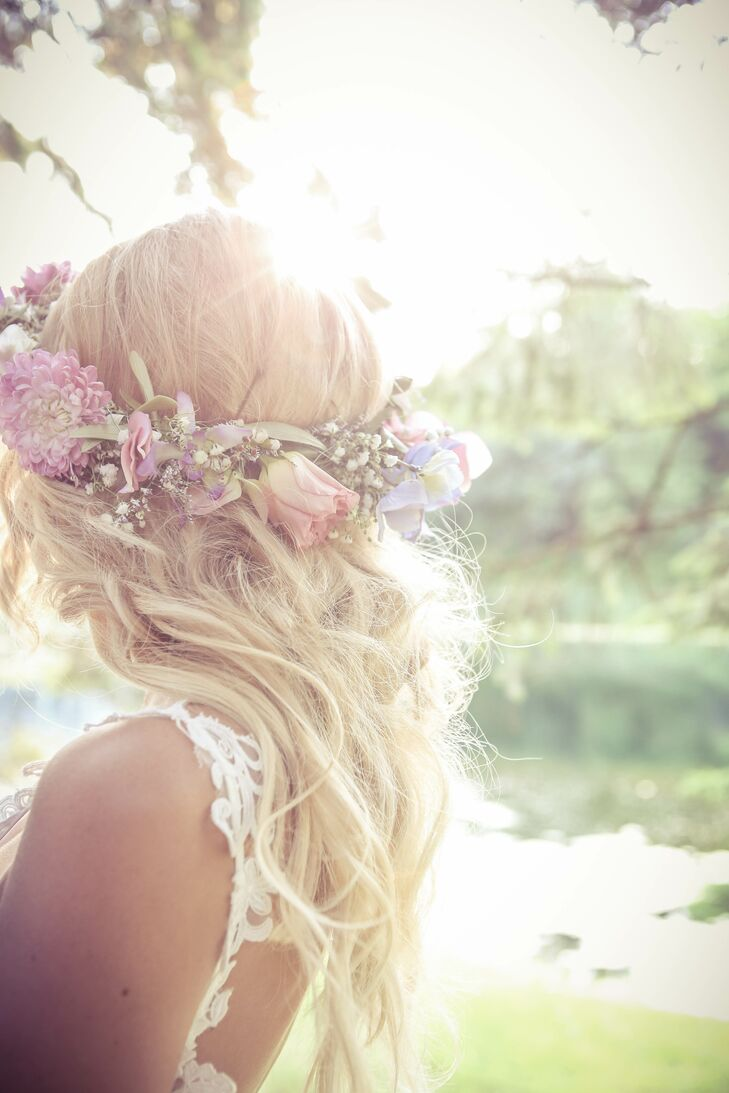 The flower girls wore rose and baby's breath flower crowns.
