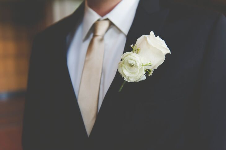 Ivory Ranunculus and Rose Boutonniere