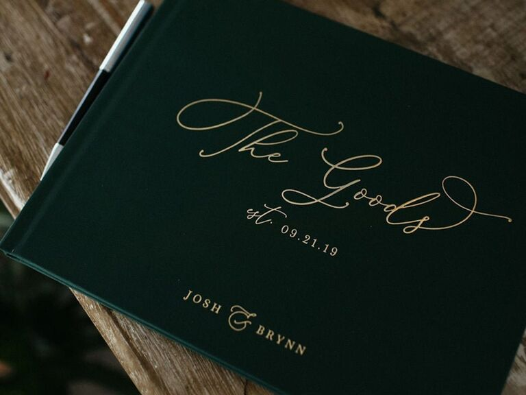etsy personalized black wedding guest book idea with script front