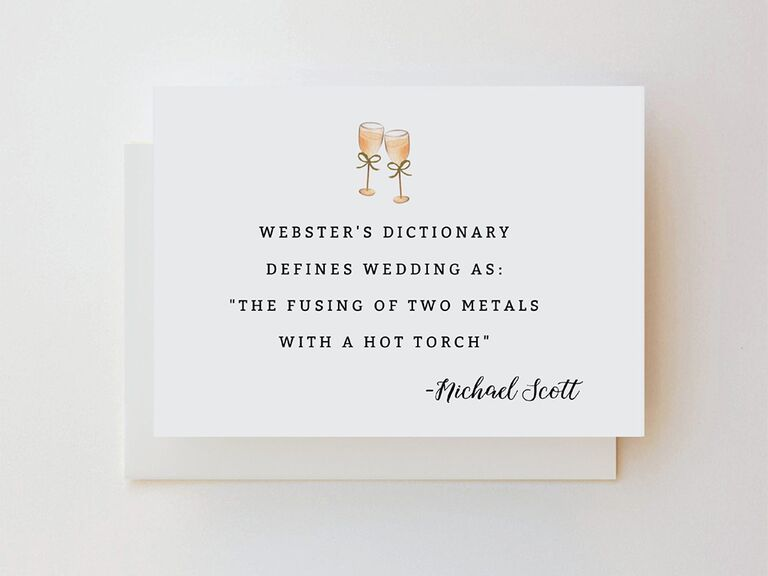 Quote from Micheal Scott in minimalist serif black type with champagne flute graphics