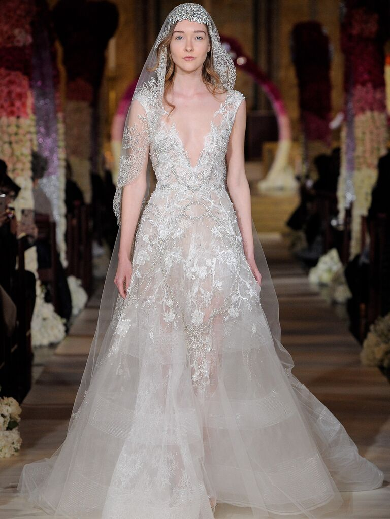 Reem Acra Spring 2020 Bridal Collection beaded lace plunging A-line wedding dress