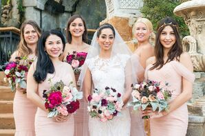Pink Amsale Bridesmaids Dresses with Jewel-Toned Bouquets